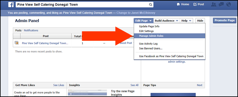 how to change admin of facebook page