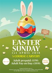 Easter Sunday Carvery at Chimney Sunday 1st April 12pm midday to 4pm